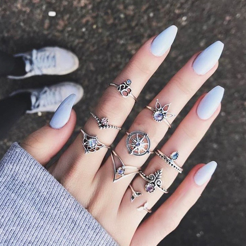 H:HYDE New Fashion Party Exaggerated personality Crystal leaves 9pcs/set Jewelry Joint Rings Sets Wholesale Cheap Price
