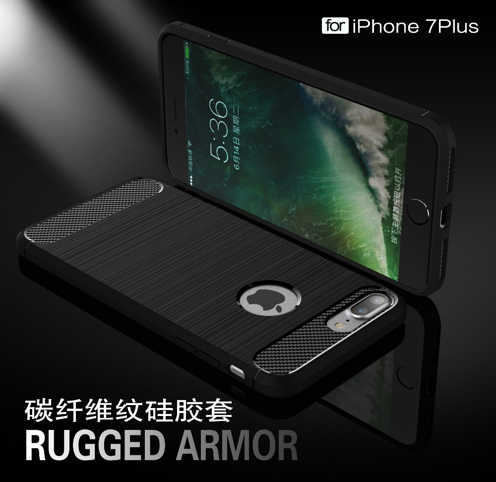 For iphone7plus Case Slim Rugged Armor Shockproof Hybrid Soft Rubber Silicone Phone Cases Cover for iphone7 plus