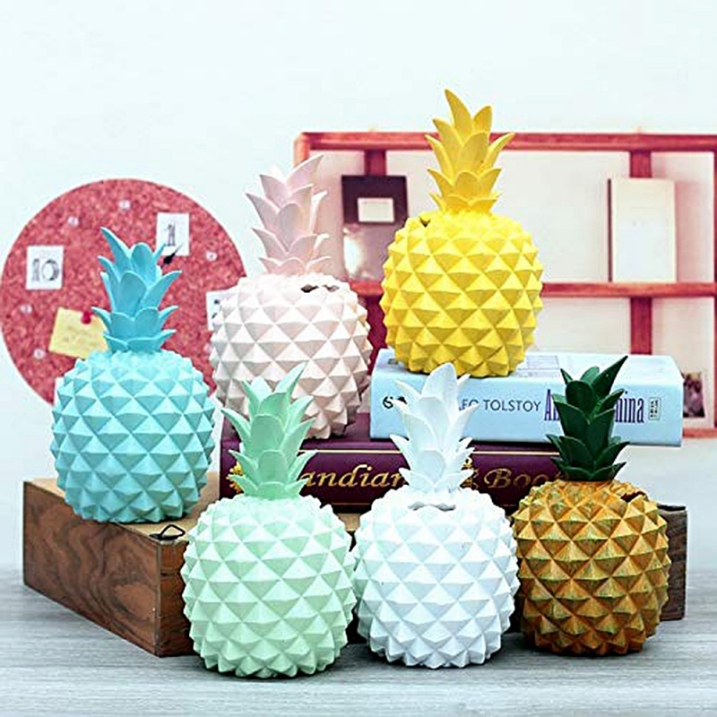 Accessories:  Creative Ceramics Colorful Pineapple Ornaments Resin Kids Gift Bank Fruit Cute Table Present Modern Home Decoration Accessories - Martin's & Co