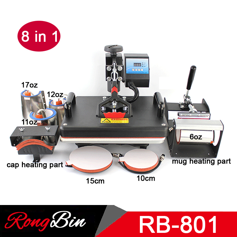 8 in 1 Combo Heat Press Machine T-shirt 12x15 Inch Digital Swing Heat Transfer Machine Sublimation Machine for Mug Hat Plate Cap 1pc 6in1 30 38cm t shirt swing away heat press machine shaking head heat transfer sublimation machine
