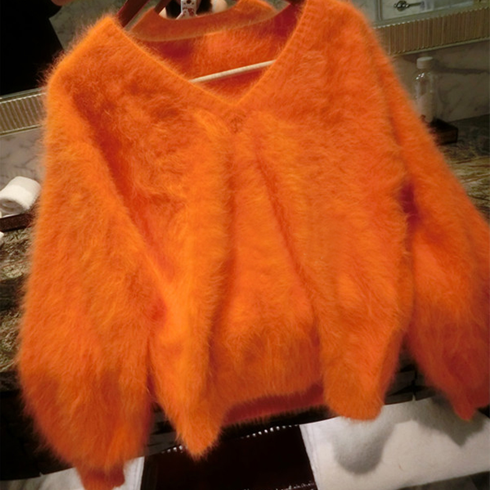 Sexy V Neck 100 Soft Natural Mink Cashmere Sweater Customize Multi Colors and Big Size Factory