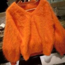 Сексуальный мягкий 100% натуральный норковый кашемировый свитер с V образным вырезом, индивидуальные разные цвета и большие размеры, фабричные пуловеры wsr294
