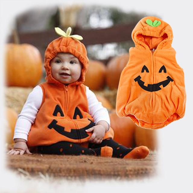 Macacão meninos meninas animais geral abóbora de halloween traje infantil da criança do bebê pato amarelo vaca outono inverno roupa sem mangas