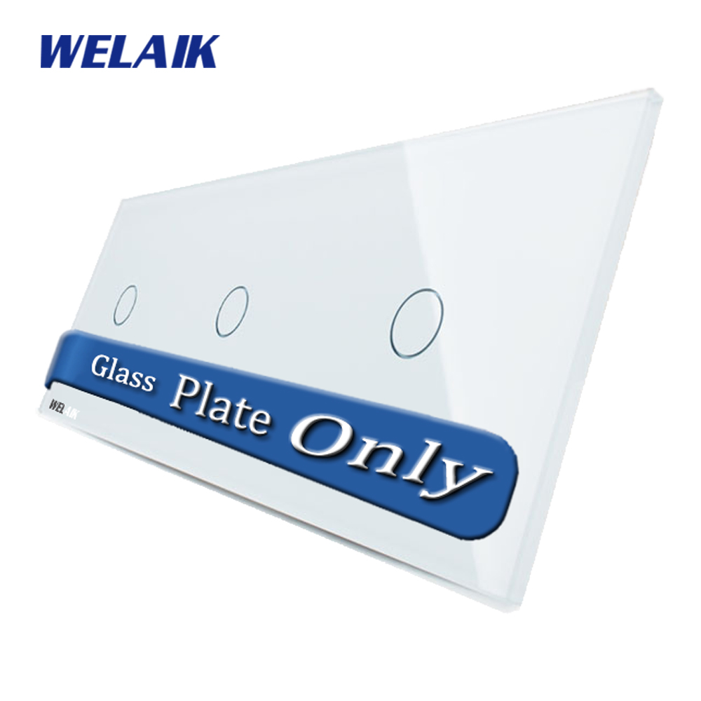 WELAIK  Touch Switch DIY Parts  Glass Panel Only of Wall Light Switch White Crystal Glass Panel 1Gang+1Gang+1Gang  A39111W/B1 2017 smart home crystal glass panel wall switch wireless remote light switch us 1 gang wall light touch switch with controller