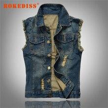 New Arrival Men's Denim Vest Brand Jeans Vest Men Cowboy Denim Sleeveless Jacket  6XL Man Male Outwear Waistcoat G257