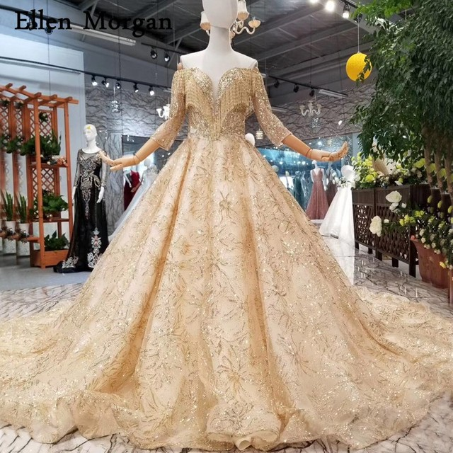 Gold Glitter Lace Ball Gowns Wedding Dresses Lace 3 4 Long Sleeves Off  Shoulder Corset Middle East Countries Bridal Gowns 2019 3f4a52e12842
