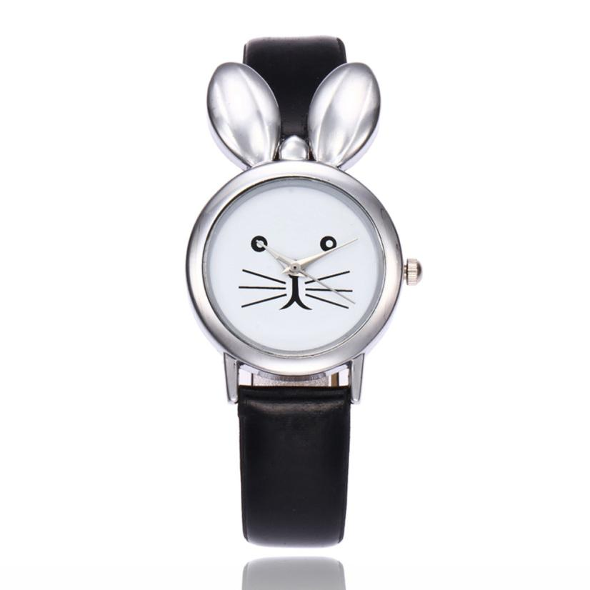 Moment # L05 2018 Top Sales Women Watches Cuty Rabbit Ears Leisure Time Pattern Faux Leather Analog Simple Wrist Watch for Men fashion rabbit and grass pattern 10cm width wacky tie for men