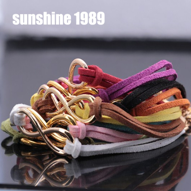 Sunshine Fashion 10 pieces a lot colourful infinity cross letter dream gold plated ribbon bracelet factory price S053 S056 S177