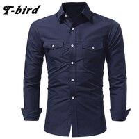 T Bird Brand 2017 Men Shirt Double Bag Double Cover Dress Shirt Long Sleeve Slim Fit