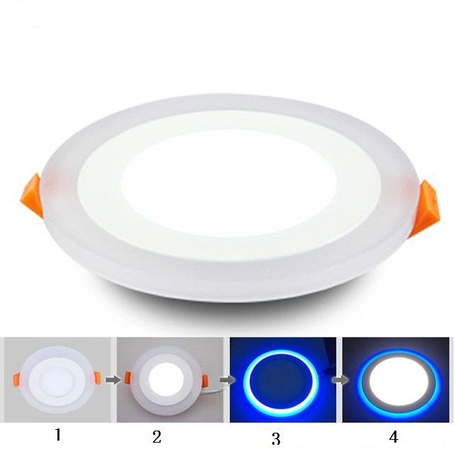 LED Downlight Round 6W 9W 16W 24W 3 Model LED Lamp Double Color Panel Light two Color Ceiling Recessed Lights Indoor Lighting