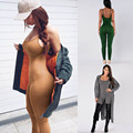 2017 Novas Mulheres Macacões Casual Sólidos Mangas Bodycon Rompers Jumpsuit Mulheres Club Wear Magro Macacão Feminino & 03