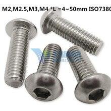 (50 шт./лот) M2, M2.5, M3, m4 * l = 4 ~ 50 мм ISO7380 Нержавеющаясталь A2 Шестигранная кнопку головкой игрушка винт