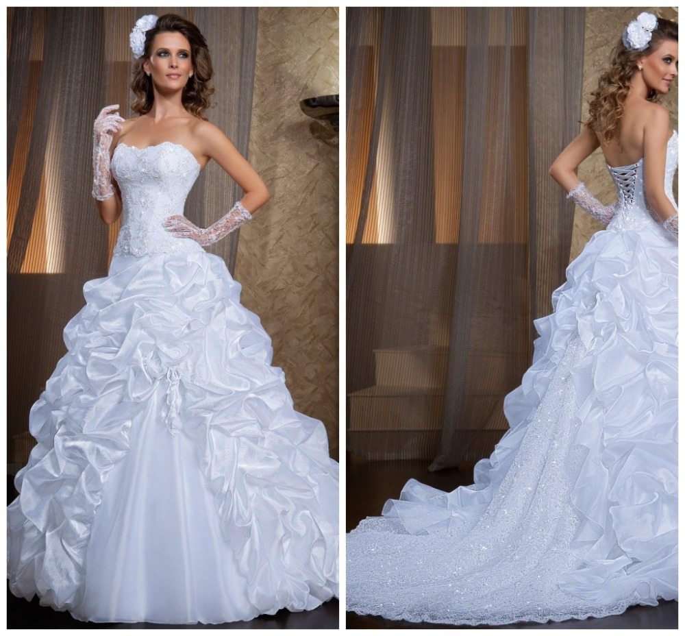 Court White Ball Gown vestidos de noiva Fluffy Fold Strapless Lace ...