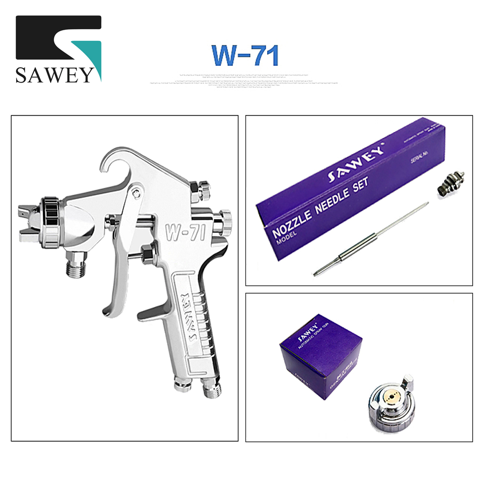 Sawey Nozzle Needle air cap three piece parts set for w-71,w-77 hand spray gun,Japan 3pcs in 1 set kits paint tool Free shipping w 101 spray gun components nozzle needle w101 spare parts 1 0mm 1 3mm 1 5mm 1 8mm