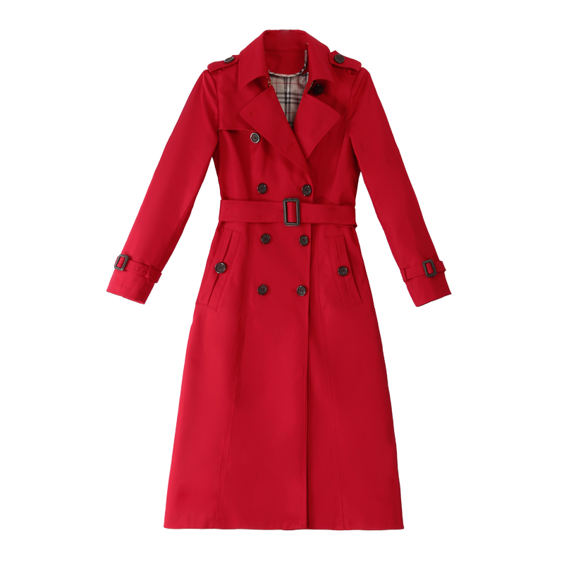 High Quality Spring Female   Trench   Coat Belt Women's Large Size Long Windbreaker Red Coat Autumn New Slim Women's Rompevientos