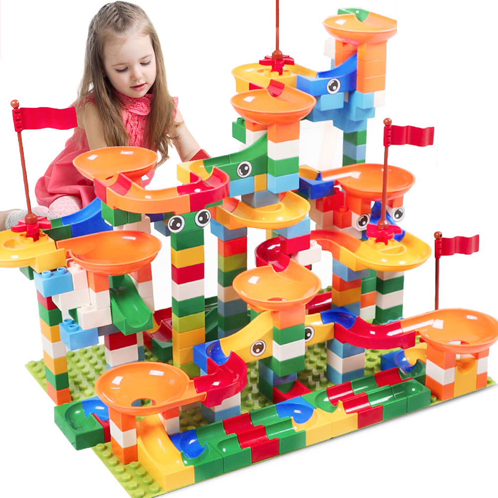 296pc DIY Marble Race Run Maze Balls Track Building Blocks Funnel Slide Kids Toy