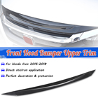 ABS Carbon Fiber Color Front Hood Bumper Upper Trim Nose Cover For Honda For Civic 2016-2018 Grill Grille Cover Molding