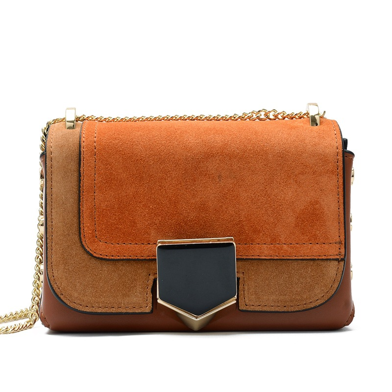 Suede Genuine Leather Flap Bag Ladies Fashion Solid Crossbody Bags Shield Hasp Chains Patchwork Women Shoulder Messenger Bags retro women s crossbody bag with hasp and suede design