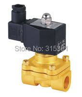Free Shipping New 1/2 Inch Brass Solenoid Valve 12V DC Electric Air Water Gas Diesel Fuel DIN Coil 2W160 15 D