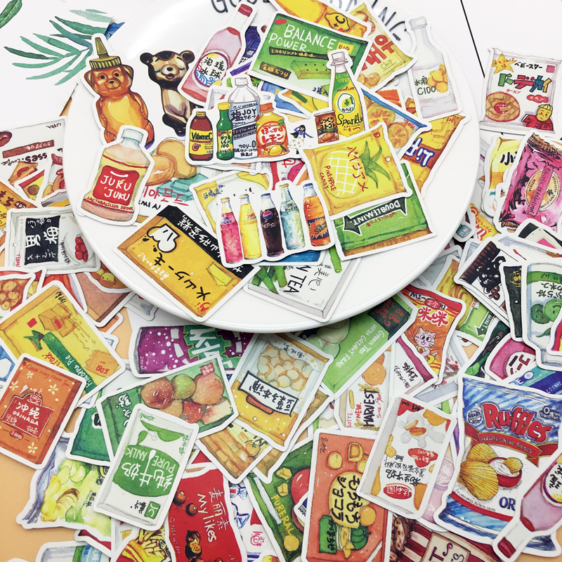 158pcs Cute Food And Drinks Sticker For Diary Books Photo Album Decoration Food Adhesive Stickers/ Self Made DIY Sticker