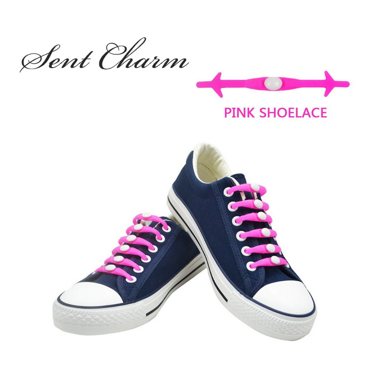 12pcs/Pack Pink No Tie Silicone Shoelaces For Girls Stylish Elastic Shoe Laces For Sneakers Canva Shoes