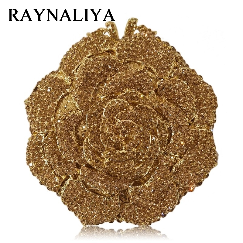 Black Rose Bag Flower Clutch Crystal Evening Bags Women Diamond Party Dinner Wedding Clutches Handbags Bridal Purse ZH-A0355