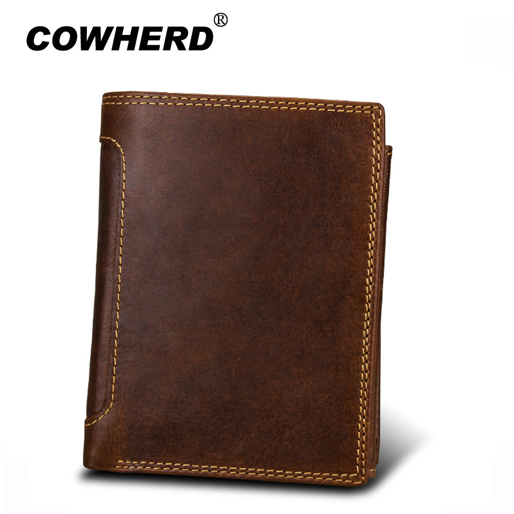 Men's Head Layer Genuine Leather Clutch Wallet ID Bifold Business Credit Card Holder Purse Coffee Cowskin male walllets leather slim credit card holder id card case holder useful purse with neck strap