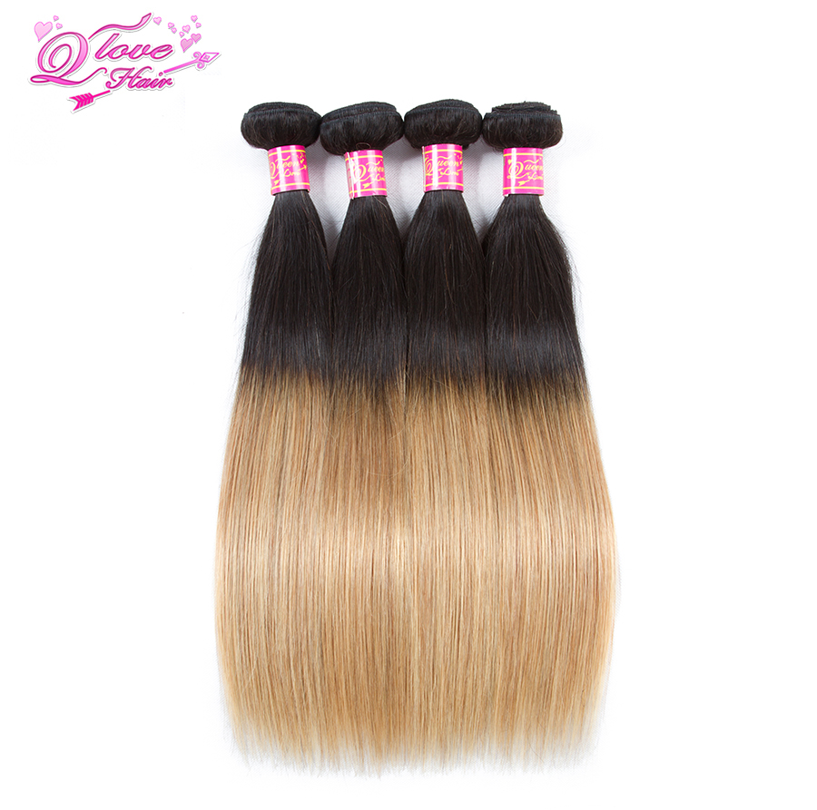 Queen Love Hair Pre-Colored Ombre Straight Hair Brazilian Weave 4 Bundles Human Hair Bundles 1B/27 Non Remy Hair Extension