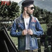77City Killer Men's Denim Jacket Men Outerwear 2017 Fall New Slim Straight Barrel Vintage American Flag Jackets C2483