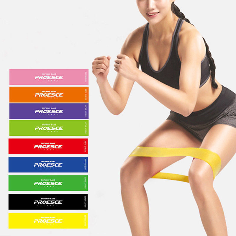 US Set 9 Heavy Duty Resistance Band Loop Exercise Yoga Workout Power Gym Fitness aerobic power workout