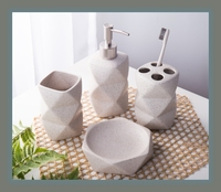 Sandpoint Ceramics Bathroom 4pcs Set Bathroom Supplies Wash Kit Unusually Shaped Cup Lotion Bottle Brush Holder