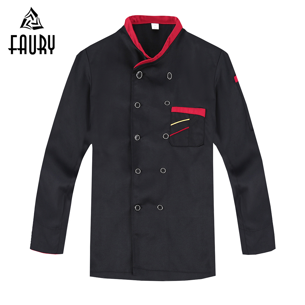 2018 New Men's Kitchen Cooking Workwear Chef Jackets Long Sleeve Restaurant Hotel Cafe Waiter Work Uniforms Catering Overalls