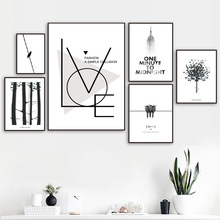 Black White Forest Tree Bird Landscape Wall Art Canvas Painting Nordic Posters And Prints Wall Pictures For Living Room Decor black white zebra quote landscape wall art canvas painting nordic posters and prints animals wall pictures for living room decor