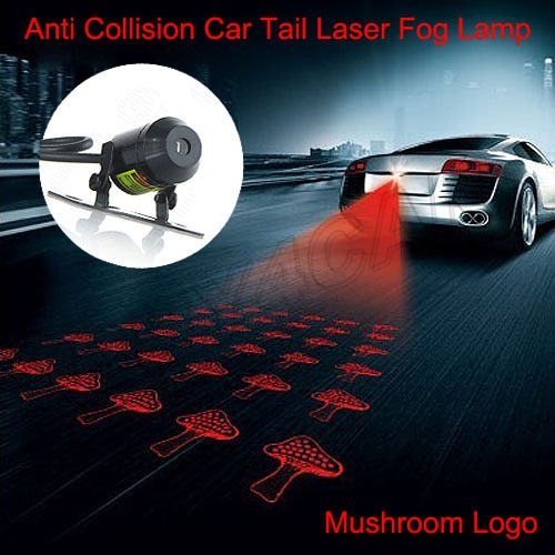 Car Auto Laser Tail Fog Lamp Short Bullet Kit Anti Collision Rear-end Rearing Warning Projector Light Logo For Mushroom #5228 car rear tail warning lamp for ford edge 2015 2016 external automobiles for anti collision rear end auto safe driving lights