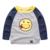 Camisa nova primavera das crianças pequenas meninos bebê manga raglan tarja t menino smiley dos desenhos animados T-shirt de manga comprida