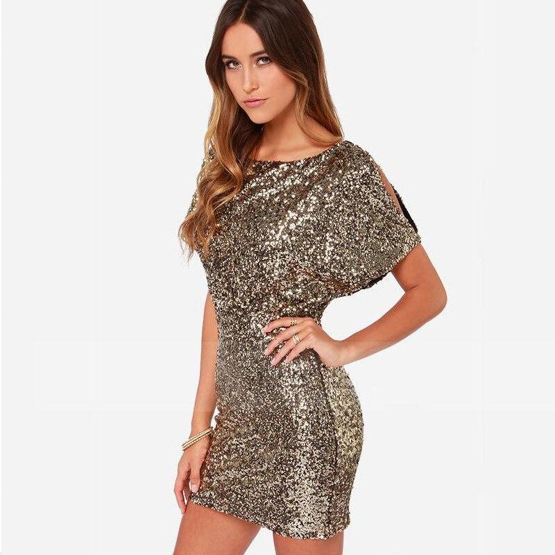 Image 3 - Sexy Sequins Evening Party Dress Shiny Gold Short Club Disco  Dress High Quality Vestido de Fiesta Noche Robe Abendkleid HX  6060Dresses