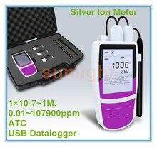 Przenośny Ag jonów srebra miernik z USB rejestrator 1*10 7 ~ 1 M, 0.01 ~ 107900ppm