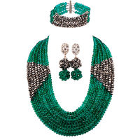 Teal Green Army Green Silver Nigerian Wedding African Beads Jewelry Set Crystal Beaded Necklace Party Jewelry Gifts 8LBJZ02