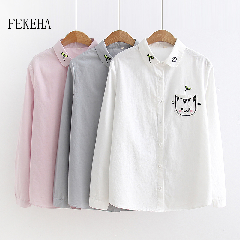 FEKEHA 100% Cotton Embroidery   Shirts   Women Autumn Long Sleeve Cartoon Cat White   Blouses   Girl Tops Blusas Feminina Ladies Clothes