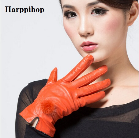 Cheap price discount 2017 100% genuine leather gloves female sheepskin gloves women's thin thermal mink hair ball fashion