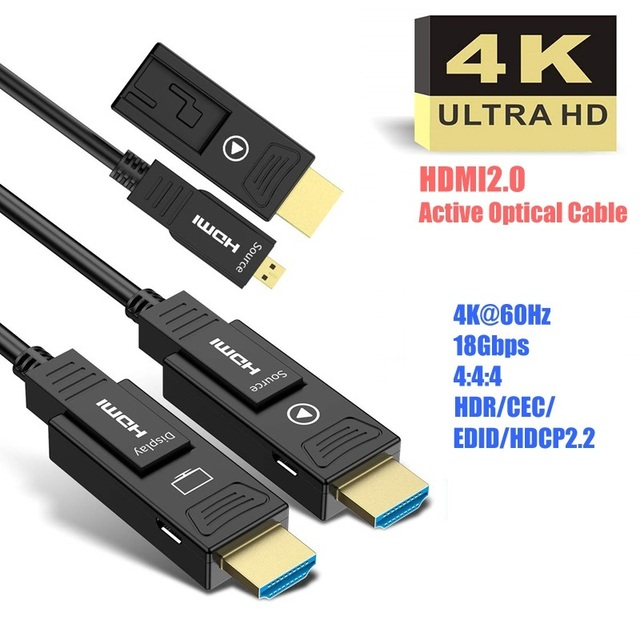להסרה HDMI2.0 סיבים אופטי כבל, מיקרו HDMI סוג D + סוג, 18 5gbps 4K 60Hz HDCP2.2 3D HDMI 10m 15M 20m 30m 40m 50m 100m