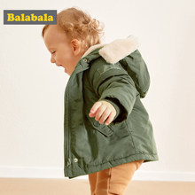 Balabala Girls Coat Jackets 3-24 M Long Sleeve Girls cotton Clothes Kids Winter Warm pink Coats For Girls Outerwer Children(China)