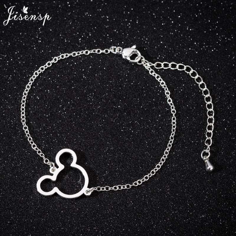 Aço Inoxidável Jisensp Bonito Mickey Pingente Charm Bracelet Jóias para Mulheres Miúdo Dos Desenhos Animados Minnie Pulseiras Pulseiras pulseras mujer