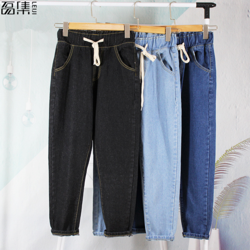 Harem Jeans Woman High Waist 2018 Fashion Loose Vintage  Cotton  Mom Plus Size Blue Ankle Length Denim Femme Pencil  Pant 5XL