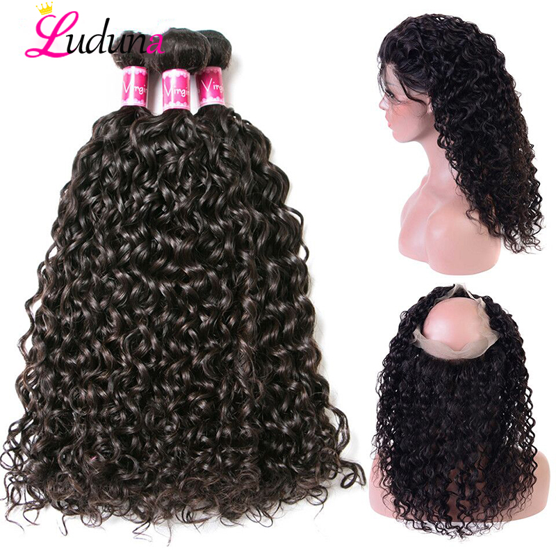 360 Lace Frontal With Bundle Brazilian Hair Weave Bundles With Frontal Closure Water Wave Bundles With