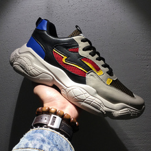 2019 New Style Clunky Sneaker Breathable  Retro Running Shoes Catwalk for Men Splice Multicolor