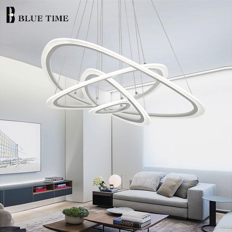 Black White Modern LED Ceiling Light For Living Room Bedroom Dining room Lustre Acrylic Cricles Led