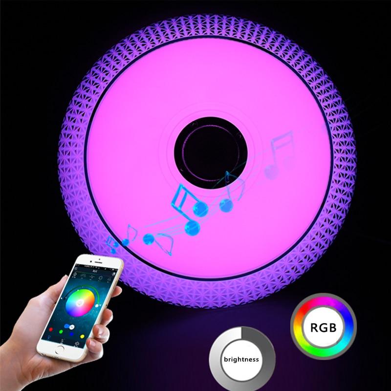 Téléphone portable APP LED plafonnier moderne RGB salon Luminaria 24 W Bluetooth haut-parleur Lustre musique fête lampe livraison gratuite