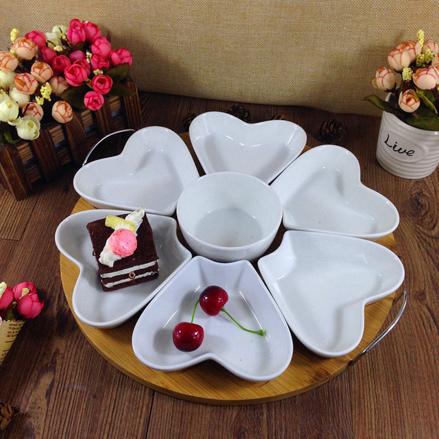 Fashion Heart-shaped Ceramic Dining Epergne Dish Set Decorative Porcelain Division Serving Tray Dinnerware Craft & Fashion Heart shaped Ceramic Dining Epergne Dish Set Decorative ...
