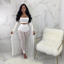 New Novelty 3 Pieces Women Set Solid 1 Piece X-Long Outwear 2 Strapless Wear and Long Pants Bodycon Lace